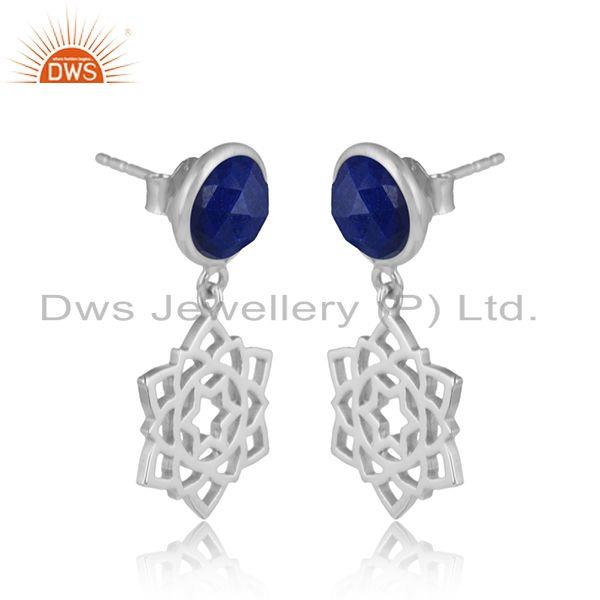 Designer anahata earring in solid silver 925 with lapis