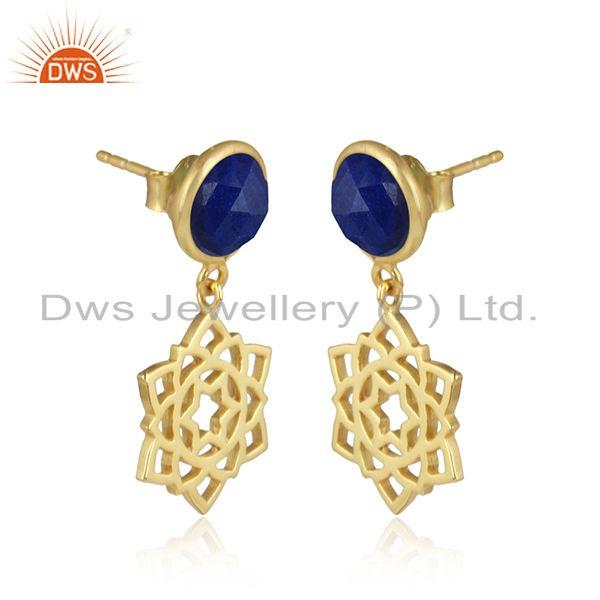 Heart cahkra earring in yellow gold on silver 925 with lapis