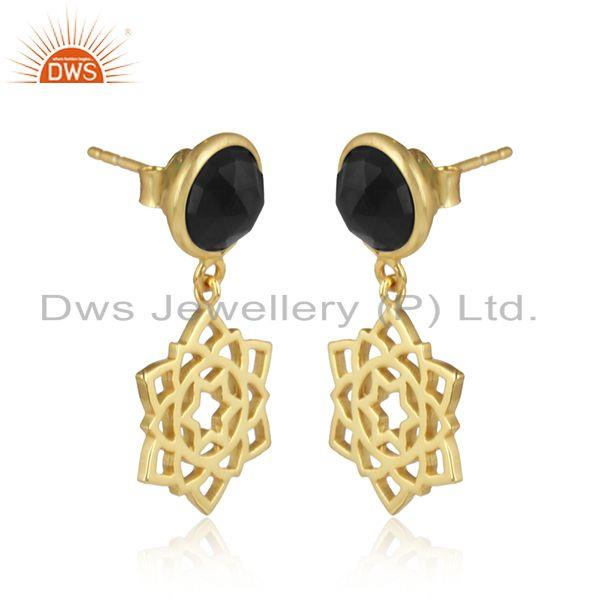 Anahata earring in yellow gold on silver 925 with black onyx
