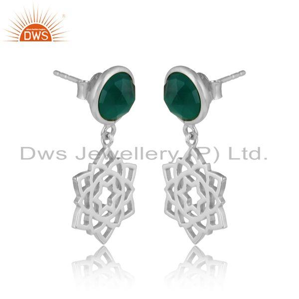 Designer anahata earring in solid silver 925 with green onyx