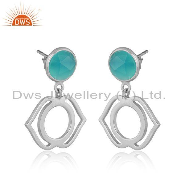Designer ajna chakra earring in silver 925 with aqua chalcedony