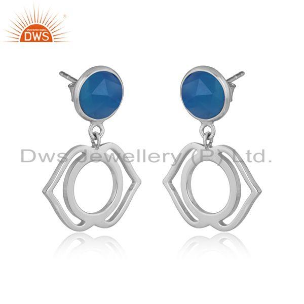 Designer ajna chakra earring in silver 925 with blue chalcedony