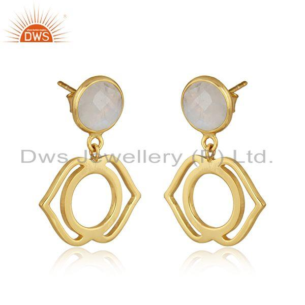 Ajna earring in yellow gold on silver 925 with rainbow moonstone