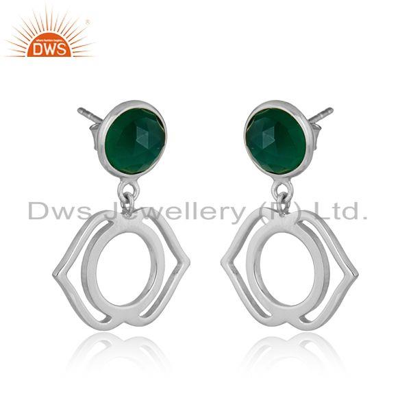 Designer ajna chakra earring in silver 925 with green onyx