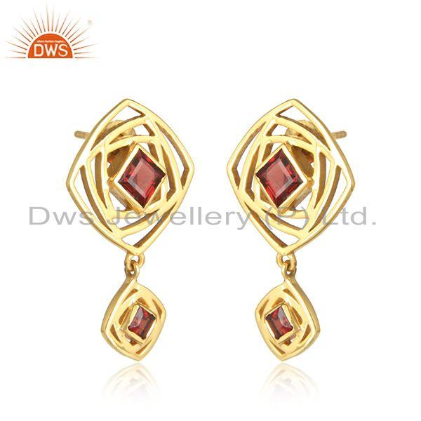 Dangle design 18k gold plated silver garnet gemstone earrings