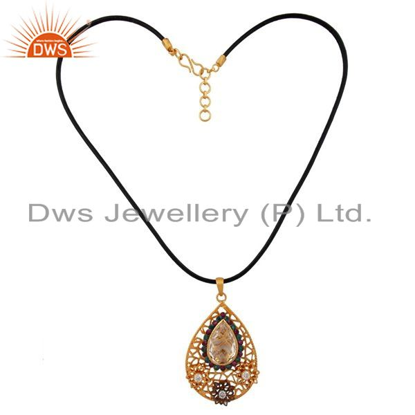Exporter 18k Gold Plated 925 Sterling Silver Crystal Quartz Multi Zircon Pendant Jewelry