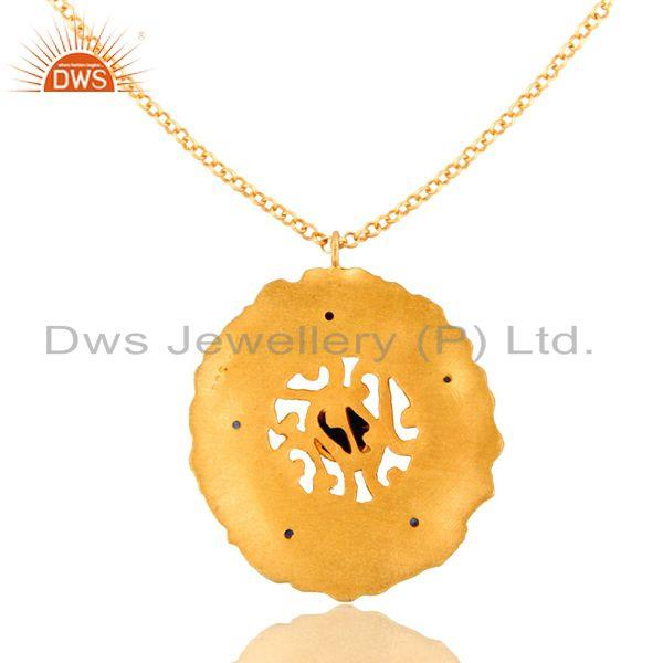Exporter 18K Yellow Gold Plated Sterling Silver Blue Sapphire Designer Pendant With Chain