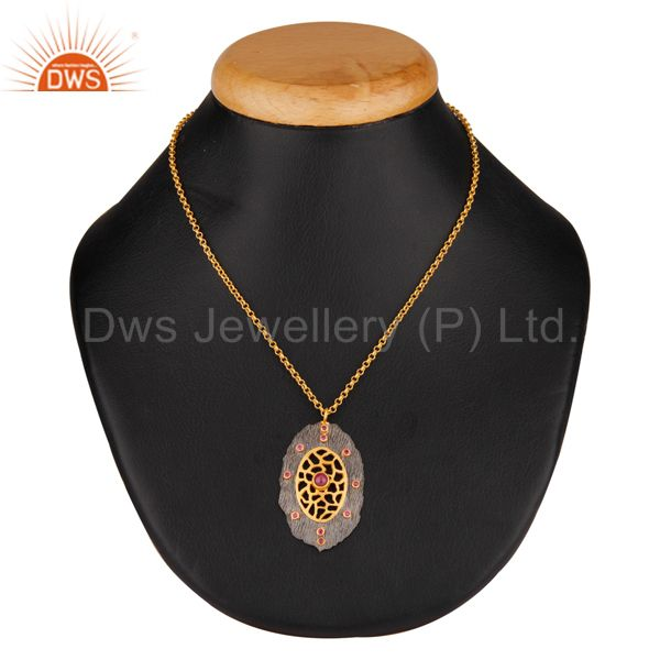 Exporter Bezel Set Ruby Pendant Ethnic 92.5% Sterling Silver Hand Crafted Women Fashion C