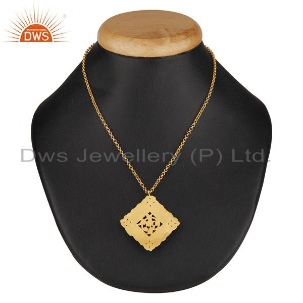 Exporter Natural Smoky Quartz 18K Gold Plated 925 Sterling Silver Chain Pendant Jewelry