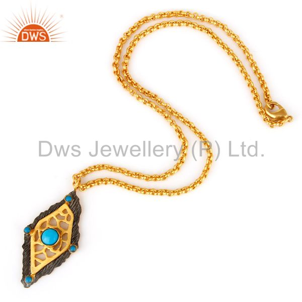 Exporter 18K Gold Plated Turquoise Metrix Art deco Pendant Necklace with Chain