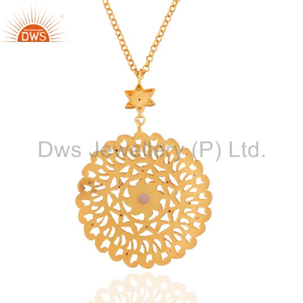 Exporter Chalceony 925 Silver Matte Finish With Gold Plated Filigree Drop Zircon Pendant