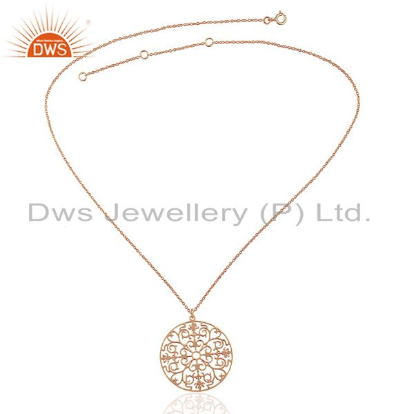 Supplier of Swirl Pendent Ornate Rose Gold Plated 92.5 Sterling Silver Filigreen Pendent