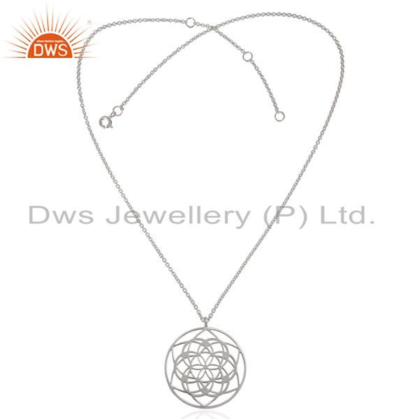 Exporter 25 MM flower Patter White Rhodium Plated 92.5 Sterling Silver Wholesale Pendent