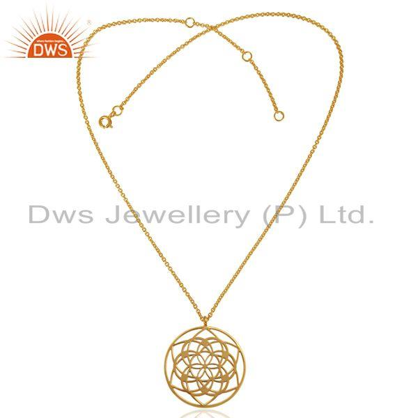 Exporter 25 MM flower Pattern 14K Gold Plated 92.5 Sterling Silver Wholesale Pendent