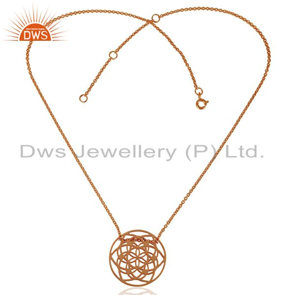 Exporter 15 MM flower Pattern Rose Gold Plated 92.5 Sterling Silver Wholesale Pendent