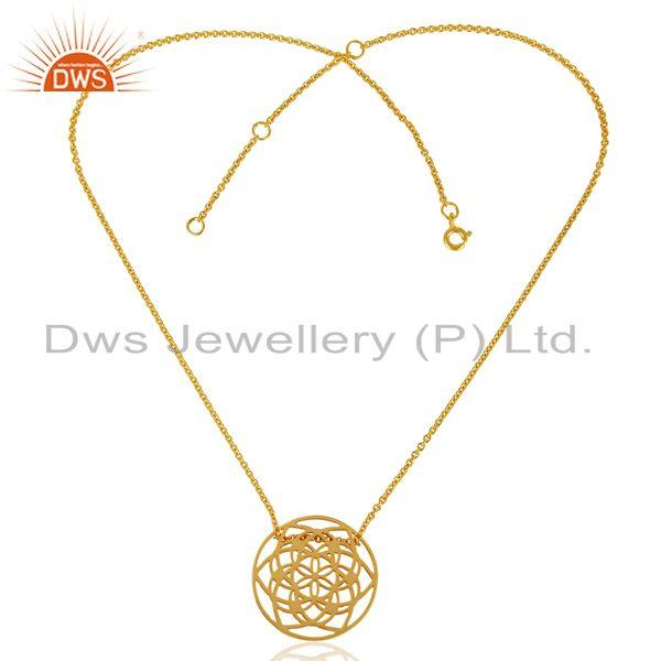 Exporter 15 MM flower Pattern 14K Gold Plated 92.5 Sterling Silver Wholesale Pendent