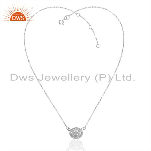 Exporter White Rhodium Plated Plain Sterling Silver Charm Chain Pendant Jewelry