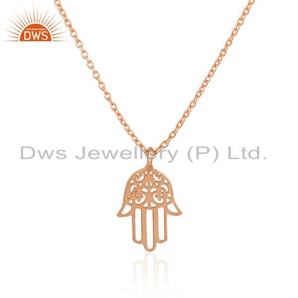 Exporter Lucky Hamsa Charm Rose Gold Plated Sterling 925 Silver Chain Pendant