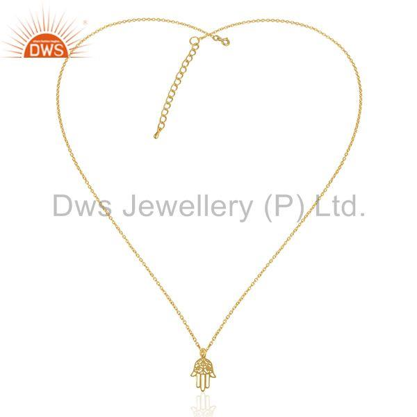 Exporter 14k Gold Plated Lucky Hamsa Hand Charm 925 Silver Chain Pendant Wholesale