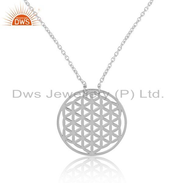 Exporter White Rhodium Plated Plain Silver Filigree Design Chain Pendant