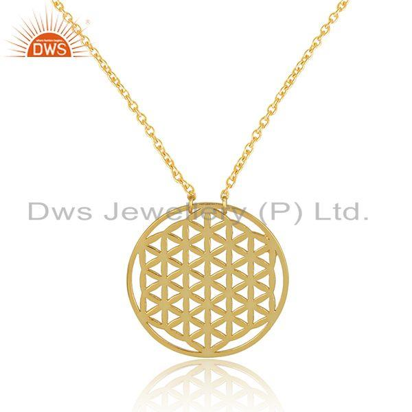 Exporter Filigree Design Yellow Gold Plated Plain Silver Chain Pendants