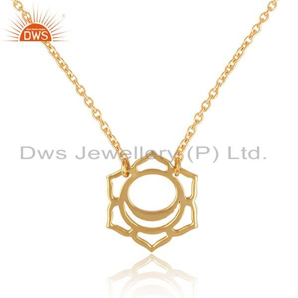 Exporter Indian Gold Plated 925 Silver Svadisthana Chakra Chain Pendant