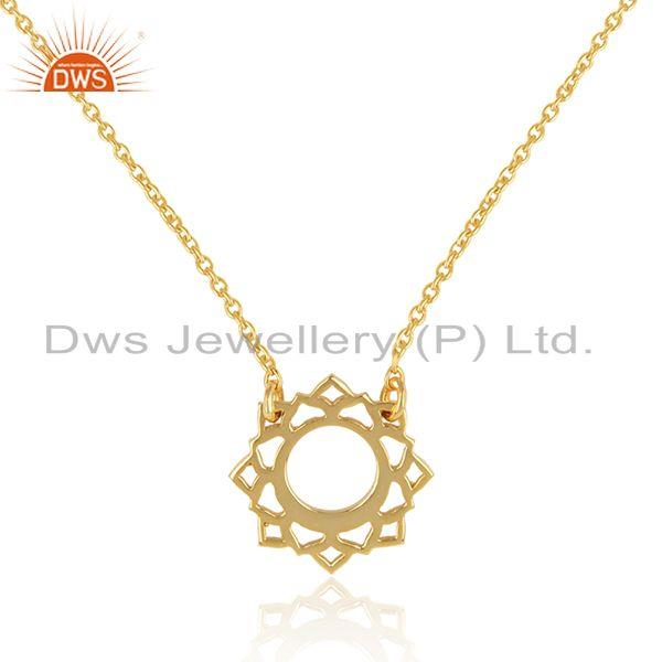 Exporter Vishuddha Chakra Gold Plated Womens Silver Chain Pendant Jewelry