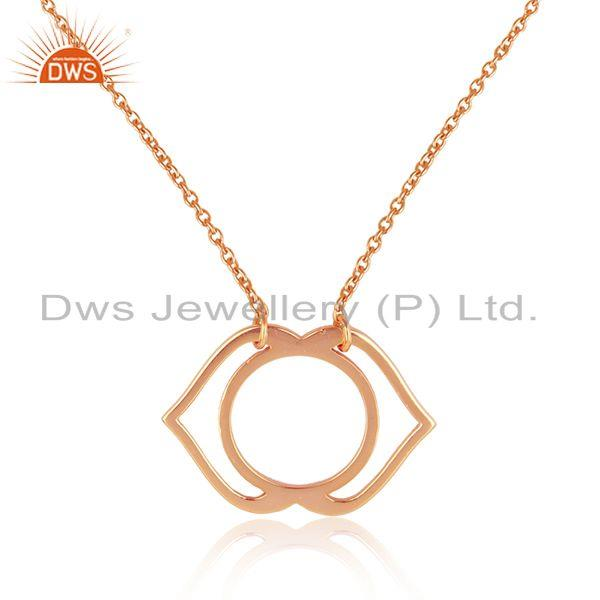 Exporter Indian Rose Gold Plated Plain Silver Ajna Chakra Design Pendant