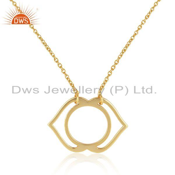 Exporter Ajna Chakra Designer Yellow Gold Plated 925 Silver Chain Pendant