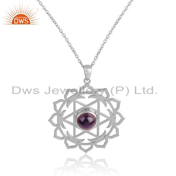 New sterling silver chakra design amethyst gemstone chain pendant