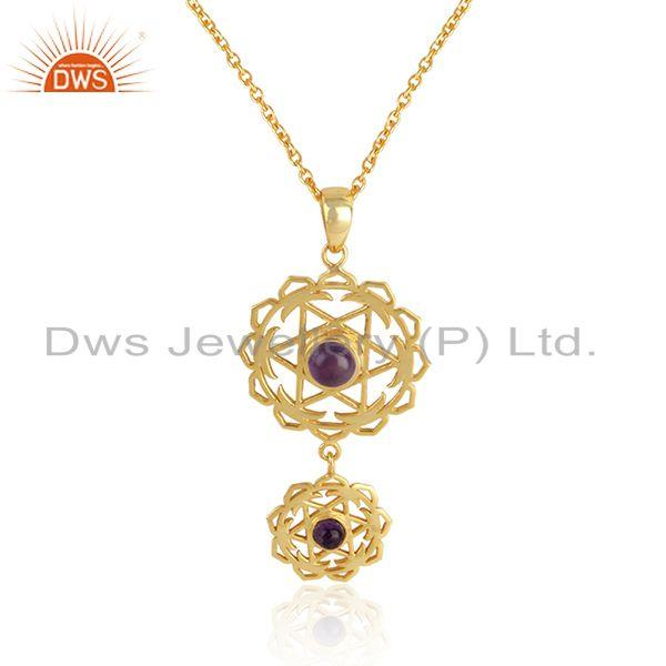 Natural amethyst gemstone gold plated chakra silver chain pendant