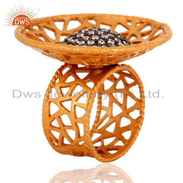 Exporter Indian 925 Sterling Silver 22K Gold Plated Filigree Design Zircon Cocktail Ring