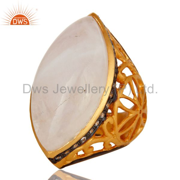 Exporter 18K Yellow Gold Plated Sterling Silver Rainbow Moonstone Statement Ring