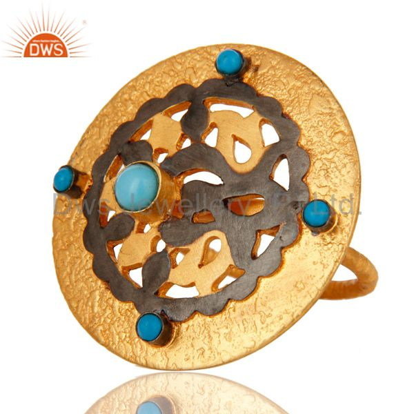 Exporter 18K Yellow Gold Plated Sterling Silver Turquoise Cocktail Stackable Ring