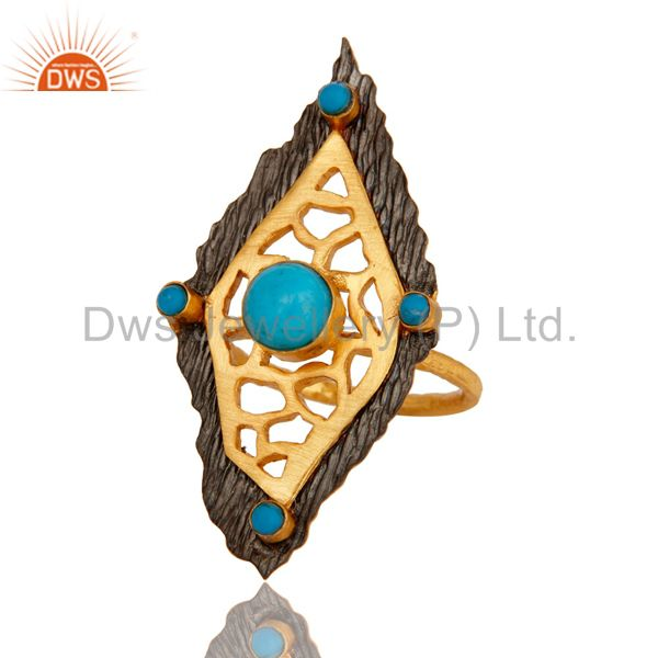 Exporter 18K Yellow Gold Plated Turquoise Gemstone Designer Statement Ring