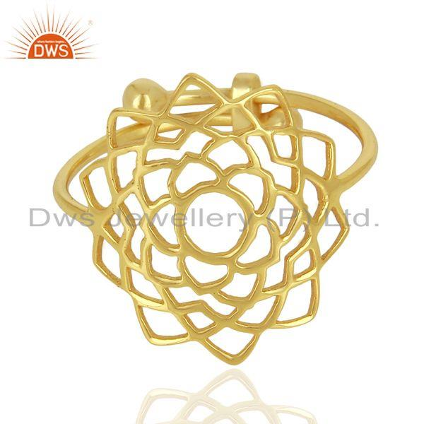 Supplier of Crown Chakra Spiritual 14K Gold Plated 92.5 Sterling Silver Wholesale Ring