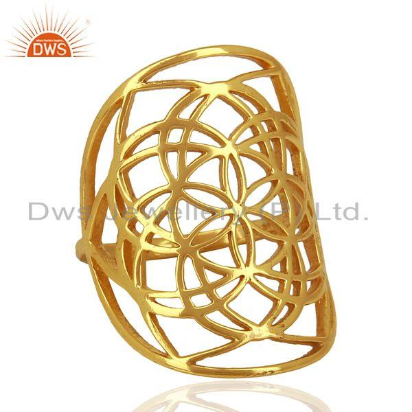 Exporter Flower Of Life Sterling Silver 14K Gold Plated Wholesale Ring