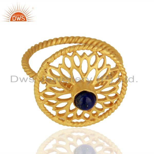 Exporter Designer Gold Plated 925 Silver Lapis Gemstone Girls Ring Manufacturer