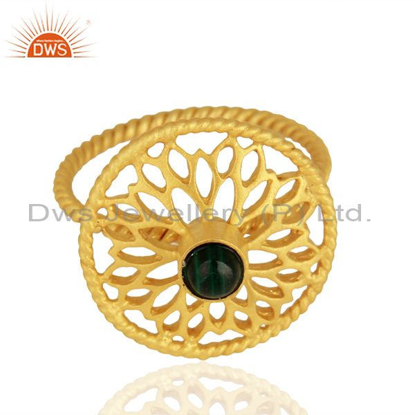 Exporter Gold Plated Malachite Gemstone 925 Silver Ring Jewelry Supplier