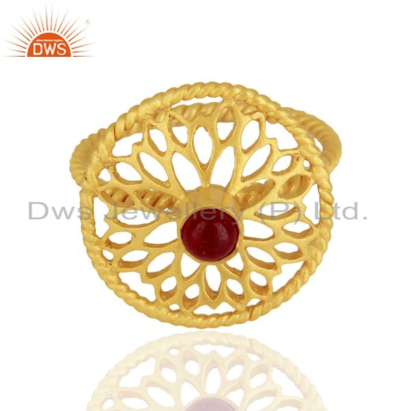 Exporter Red Aventurine Gemstone Gold Plated Silver Rings Jewelry Manufacturer