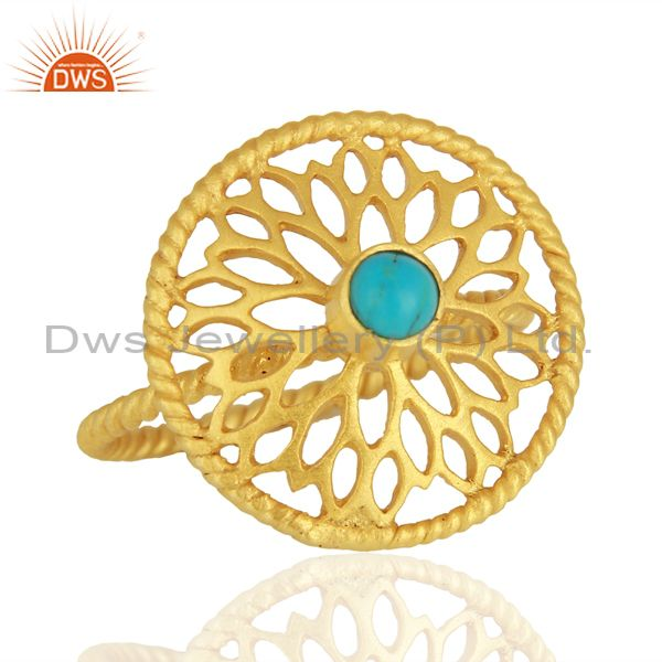 Exporter Natural Turquoise Gemstone Designer Gold Plated Silver Rings Wholesale