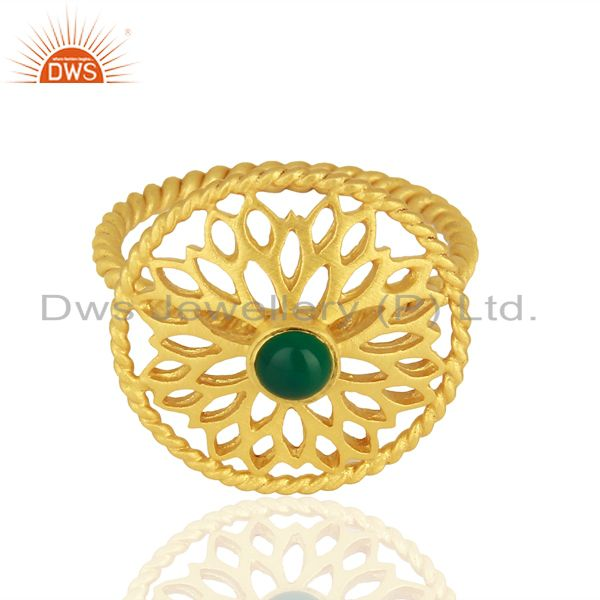 Exporter Natural Green Onyx Gemstone Gold Plated Silver Fashion Ring Supplier