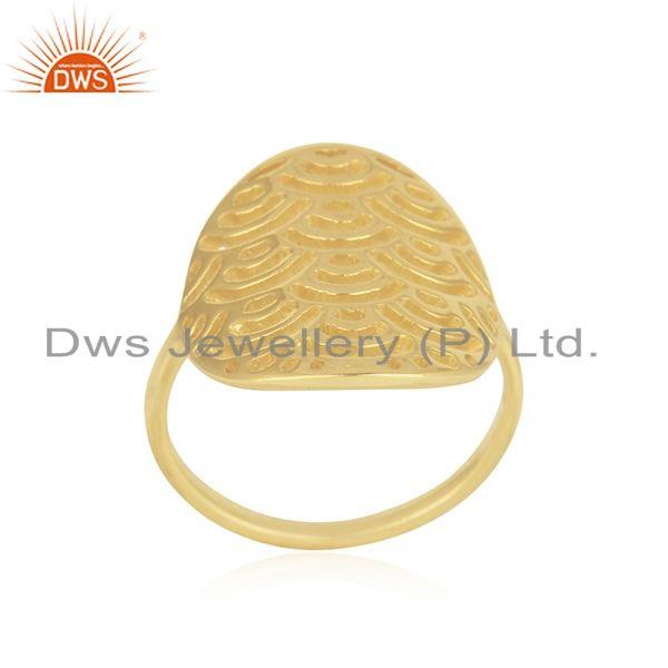 Exporter Yellow Gold Plated Sterling Silver Designer Ring For Womens Jewelry