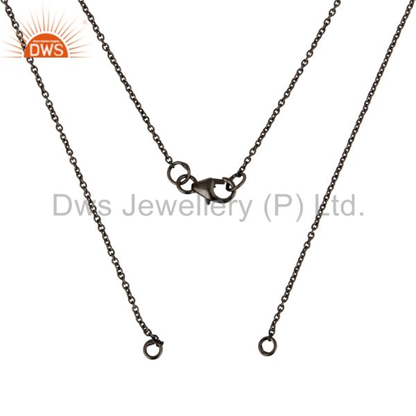 Exporter Black Rhodium Plated Sterling Silver Link Chain Necklace With Lobster Lock
