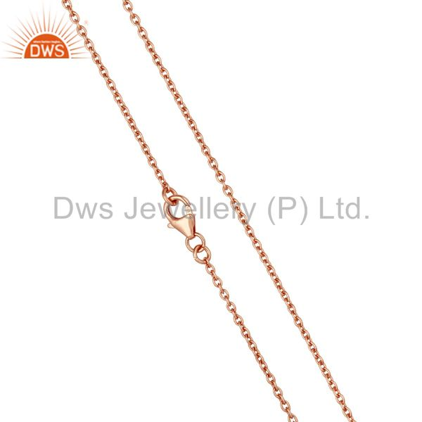 Exporter Rose Gold Plated Link Chain Sterling Silver Findings Assesories for Jewelry