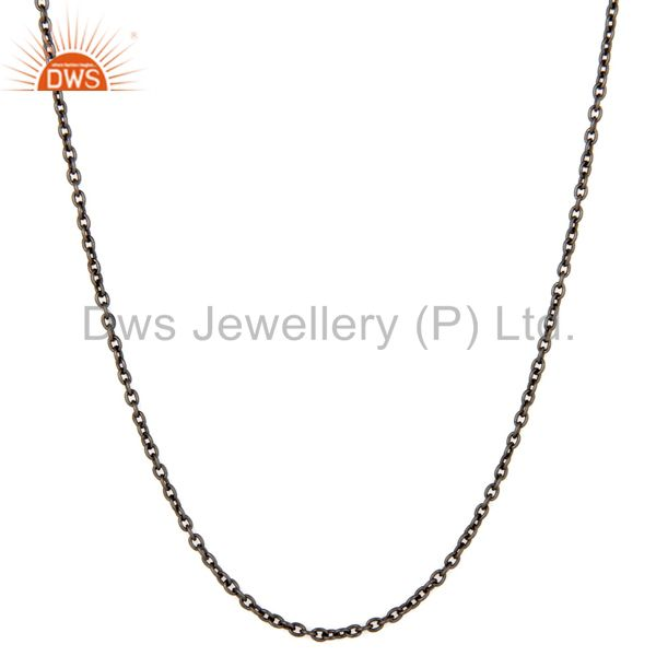 Exporter Oxidized 925 Solid Sterling Silver Cable Link Chain Necklace