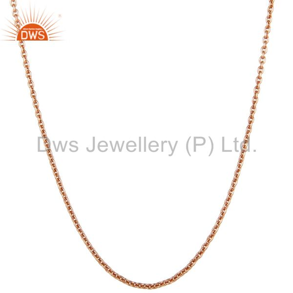 Exporter 18K Rose Gold Plated Sterling Silver Cable Link Chain Necklace