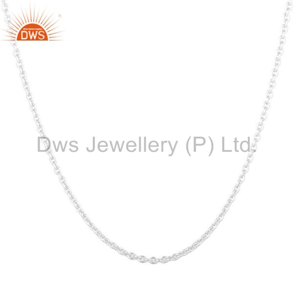 Exporter 925 Solid Sterling Silver Cable Link Chain Necklace With Lobster Lock
