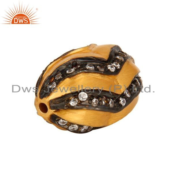 Exporter Genuine 925 Sterling Silver White Zircon 24K Yellow Gold Plated Bead Jewelry