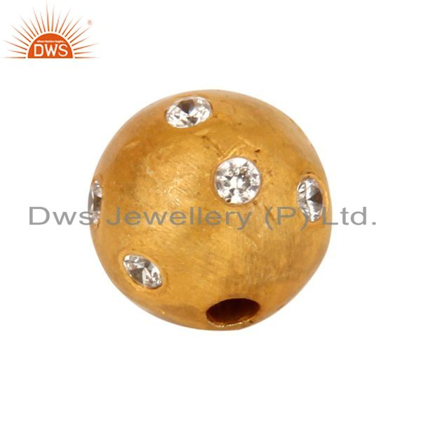 Exporter 925 Sterling Silver Cubic Zirconia Round Bead Charm With 24k Gold Plated Jewelry